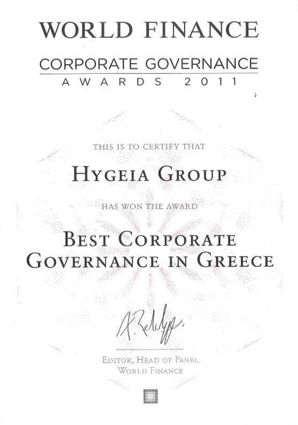 """World Finance"""" awarded Hygeia Group with the 'Best company in Greece"""